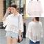 เสื้อคอวีผ้าลูกไม้เกาหลี ปลายเป็นผ้ามุ้ง thumbnail 6