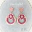 ต่างหูระย้า summer collection แต่งอะคริลิค เชือก และคริสตัลสีชมพู thumbnail 3
