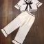 Set เสื้อสีขาว คอปกลายแขนระบาย+กางเกงขายาวสีขาว thumbnail 3