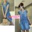 เดรสยีนส์แขนสั้น Korean cowboy single-breasted repair waist dress thumbnail 6