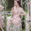 เดรสผ้าทูลเลปักดอกไม้กุหลาบสีชมพูทับลูกไม้สีชมพู thumbnail 1