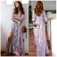 Maxi Dress เดรสยาวผ้าเครปสีฟ้าพิมพ์ลาย thumbnail 2
