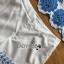 เซ็ตเสื้อและกางเกงผ้าคอตตอนสีขาวปักและฉลุลายดอกไม้สีฟ้า thumbnail 6