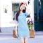 เดรสแฟชั่นเกาหลีสีฟ้า เสื้อแขนสามส่วนผ้าทอลาย เซต 2 ชิ้น มีซับในสีฟ้าแยกให้นะคะ พร้อมส่ง M thumbnail 6