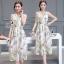 ชุด Maxi dress แขนกุด เนื้อผ้าพิมพ์ลายหอ eiffel และดอกไม้กับผีเสื้อ thumbnail 1