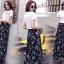 ชุดเซท เสื้อยืดปักลายกุหลาบ+ผ้าชีฟองเกาหลี ผ้าพิมพ์ลายดอกไม้ thumbnail 6