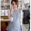 เสื้อยีนส์สีฟ้าเข้มแต่งแขนลูกไม้สีขาวปล่อยชายเสื้อแบบหางปลา thumbnail 9