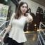 Chu ViViเสื้อผ้าแฟชั่นเกาหลี เสื้อแขนสามส่วนผ้าไหมพรมสีขาว thumbnail 1