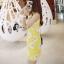 mini dress สีเหลืองแขนกุด ปักลายดอกไม้สีเหลือง thumbnail 4
