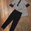 ชุดเซ็ท เสื้อแขนยาวายริ้วสีขาวดำ+กางเกง thumbnail 4