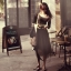 เดรสแฟชั่นเสื้อคอกว้าง+แขนยาวเข้ารูปสีดำตัดต่อผ้ามุ้งช่วงเอวสีเขียวขี้ม้าเข้ม ตามภาพค่ะ thumbnail 3