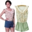 [Preorder] จั๊มสูทแฟชั่นแขนกุดลายนกและดอกไม้ สีฟ้า (Size S M L) 2014 summer new Korean women's fashion stitching lace chiffon piece pants shorts thumbnail 2