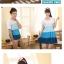 พร้อมส่ง ชุดคู่น่ารักๆ ผู้หญิง-เดรสสีฟ้าขาว / ผู้ชาย-เสื้อทีเชิ๊ตคอกลม thumbnail 11