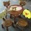 Rilakkuma รุ่นมีพนักพิง โต๊ะ ขนาด 18*20 นิ้ว จำนวน 1 ตัว เก้าอี้ ขนาด 10*10 นิ้ว จำนวน 4 ตัว ผลิตจากไม้จามจุรี รับน้ำหนักได้ถึง 70 กก. thumbnail 1