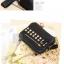 LAOCAI-BAG กระเป๋าสะพายแฟชั่นหนังสีดำ แต่งหมุดเหลี่ยมสีทอง ด้านข้างติดซิป มีกระเป๋าใบเล็กมาให้พร้อมค่ะ thumbnail 5