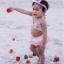 YW292-74- ชมพูจุดเล็ก ชุดว่ายน้ำเด็กเล็ก size 4 - 12 เดือน น้ำหนัก 9-12 กก. ชุดว่ายน้ำเด็ก (มีผ้าคาดผมเข้าชุด) thumbnail 2