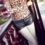 [Preorder] กางเกงหนังแฟชั่นขาสั้น สีดำ 2013 summer new Korean wild Slim was thin women PU leather shorts leather pants black primer thumbnail 1