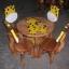 ลายยีราฟ รุ่นมีพนักพิง โต๊ะ ขนาด 18*20 นิ้ว จำนวน 1 ตัว เก้าอี้ ขนาด 10*10 นิ้ว จำนวน 4 ตัว ผลิตจากไม้จามจุรีแท้ ไม่ใช่ไม้อัด รับน้ำหนักได้ถึง 70 กก. thumbnail 1