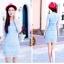 เดรสแฟชั่นเกาหลีสีฟ้า เสื้อแขนสามส่วนผ้าทอลาย เซต 2 ชิ้น มีซับในสีฟ้าแยกให้นะคะ พร้อมส่ง M thumbnail 3