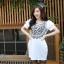 เสื้อแฟชั่นเกาหลีสกรีนลายด้านหน้าแต่งกระดุมแขนตุ๊กตาจับจีบไขว้กันน่ารักค่ะ thumbnail 8