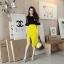 เดรสแฟชั่นเกาหลีเสื้อแขนกระดิ่งทรงสวยค่ะ มี 2 สี สีขาวตัดำ/สีดำตัดเหลืองเลมอน กระโปรงตัดเฉียงด้านหน้าไขว้กันนะคะ thumbnail 4