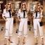 Set เสื้อสีขาว คอปกลายแขนระบาย+กางเกงขายาวสีขาว thumbnail 2