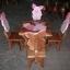 ลาย Piglet พิกเลต รุ่นมีพนักพิง โต๊ะ ขนาด 18*20 นิ้ว จำนวน 1 ตัว เก้าอี้ ขนาด 10*10 นิ้ว จำนวน 4 ตัว ผลิตจากไม้จามจุรีแท้ ไม่ใช่ไม้อัด รับน้ำหนักได้ถึง 70 กก. thumbnail 1