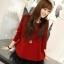เดรสแฟชั่น2ชิ้นเสื้อตัวนอกแขนยาวสีแดงสด+เสื้อสายเดี่ยวสีดำแต่งระบาย3ชั้นด้วยผ้าตาข่าย thumbnail 12