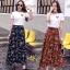 ชุดเซท เสื้อยืดปักลายกุหลาบ+ผ้าชีฟองเกาหลี ผ้าพิมพ์ลายดอกไม้ thumbnail 1