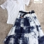 เซต 3ชิ้น เสื้อลูกไม้คอกลมแขนสั้นสีขาวมาพร้อมกับกระโปรง thumbnail 4