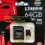 Kingston MicroSD 64GB 4K(Read 90MB/s, Write 80MB/s)(Synnex/ABT) thumbnail 1