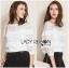 เสื้อจัมเปอร์ผ้าลูกไม้สีขาวตกแต่งผ้าพลีตเลเยอร์ thumbnail 4