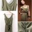 จั๊มสูทกางเกงขายาวเสื้อแขนกุดผ้าโพลี+cotton สีเขียว จับจีบย่นๆ ที่อก thumbnail 4