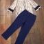 Set เสื้อลายกราฟฟิก ช่วงอกเย็บแต่งระบาย+กางเกงสีน้ำเงิน-กรม thumbnail 6