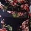 เดรสผ้าชีฟองพิมพ์ลายช่อดอกไม้ สีกรมชุดแบบป้ายผูกเอว thumbnail 6