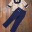 Set เสื้อลายกราฟฟิก ช่วงอกเย็บแต่งระบาย+กางเกงสีน้ำเงิน-กรม thumbnail 4