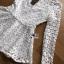 เสื้อผ้าลูกไม้สีขาวทรงคอสูงแขนยาวตกแต่งระบาย thumbnail 8