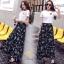 ชุดเซท เสื้อยืดปักลายกุหลาบ+ผ้าชีฟองเกาหลี ผ้าพิมพ์ลายดอกไม้ thumbnail 7