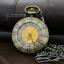 นาฬิกาพกตลับฝาใสคริสตัลสีส้ม ลาย Model Art วินเทจสีทองเหลือง(พร้อมส่ง)