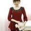 B.B.Girl เสื้อแฟชั่นสีแดงมะเหมี่ยว(อมส้ม)แขนสี่ส่วนตัดต่อผ้าลูกไม้สีดำ สินค้าจริงภาพสุดท้ายค่ะสวยค่ะ thumbnail 12
