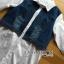 เชิ้ตยาวผ้าป็อบลินคอตตอนสีขาวตกแต่งผ้าเดนิม thumbnail 5