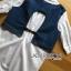 เชิ้ตยาวผ้าป็อบลินคอตตอนสีขาวตกแต่งผ้าเดนิม thumbnail 6