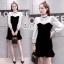 เดรสวินเทจสไตล์สาวเกาหลี เป็นเชิ๊ตเดรสแขนยาว คอสูง สีขาว thumbnail 2