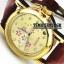 นาฬิกาข้อมือกลไกผู้หญิง สีทอง หน้าปัดลายดอกไม้ สายหนังสีน้ำตาล (สั่งทำ)