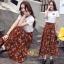ชุดเซท เสื้อยืดปักลายกุหลาบ+ผ้าชีฟองเกาหลี ผ้าพิมพ์ลายดอกไม้ thumbnail 5