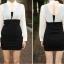 เดรสแฟชั่นเกาหลีเสื้อแขนยาวคอปก สีขาว+ตัวชุดด้านในเสื้อแขนกุดเข้ารูปสีดำ สินค้าตามแบบคะ thumbnail 9