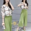 ชุดเซท เสื้อ+กางเกงกระโปรงพิมพ์ลายเครื่องประดับ เสื้อเป็นชีฟอง thumbnail 3