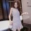 [Preorder] เดรสแฟชั่นสไตล์เรโทร สีเทา (ไซส์ S M L) 2016 spring and summer new Korean women floral camisole dress Slim thin bottoming dress tutu thumbnail 1
