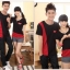 ชุดคู่รัก สีดำแดง เสื้อคอกลม thumbnail 1