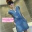 เดรสยีนส์แขนสั้น Korean cowboy single-breasted repair waist dress thumbnail 4